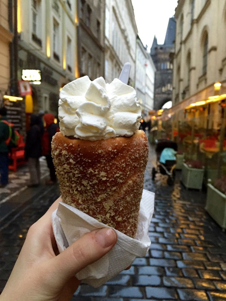 Trdelník (Chimney Cake)  Like Budapest, Prague is also known for its chimney cakes. I thought the cake in Budapest was lighter and more moist, but the filling options available in Prague (from chocolate, to ice cream, to pizza) allowed their version to rival Budapest's.