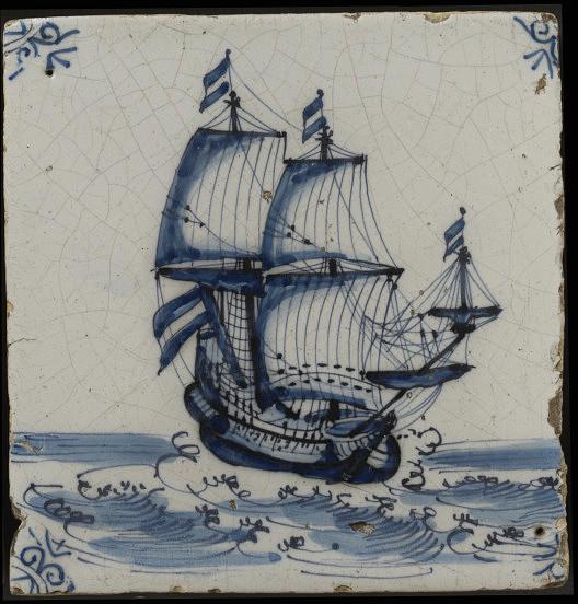 Wall tile, Harlingen, Netherlands, 1650-1700, tin-glazed earthenware with painted decoration in blue, a ship V C.571:4-1923