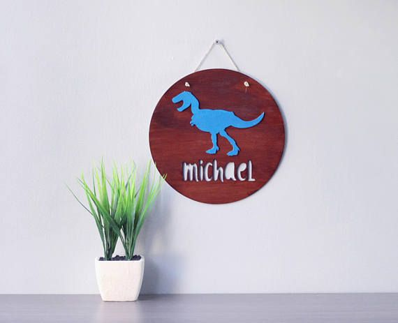 Dinosaur Decor For Kids - Dinosaur Decor For Boys Room - Name Signs For Kids - Kids Wall Signs - Wooden Nursery Name Sign - Nursery Decor