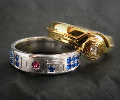 Cement your union in the geekiest way possible with the Star Wars wedding bands. Modeled after one of the greatest duos to ever grace the silver screen, each band is stylized to resemble the iconic droid pairing of C-3PO and R2-D2.