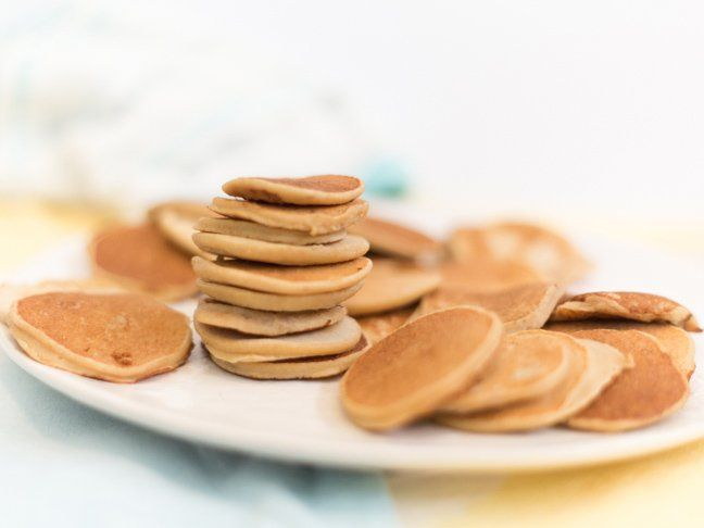 A stack of homemade baby cereal pancakes