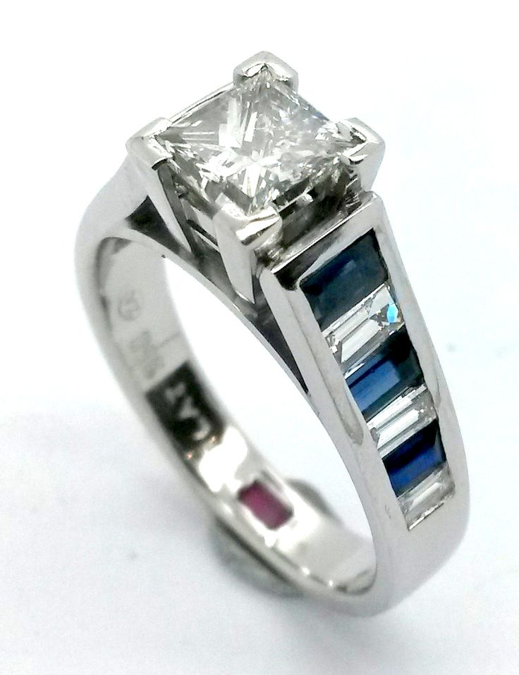 Handcrafted by Havilah for one of our many customers abroad. Diamond and sapphire engagement ring.
