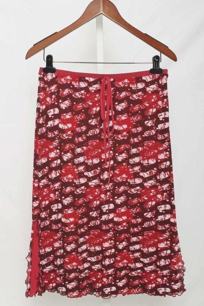 Morgan Morgan de Toi Size 2 Burgundy Abstract Mesh Knit A-Line Skirt 2960 T216  | eBay
