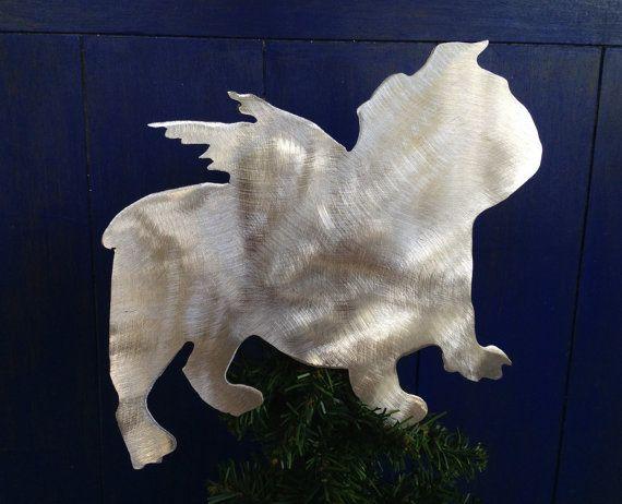 English Bulldog Angel Dog Christmas Tree Topper, Holiday