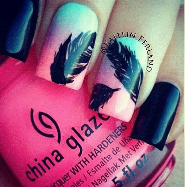 what about this? doing a few feathers like this over a french mani. @Taylor Turner
