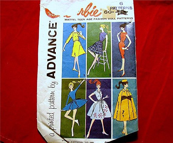 1960s Barbie Doll Clothes Pattern Advance BARBIE WARDROBE Barbie Clothes Pattern Vintage Sewing Pattern by PatternsFromThePast on Etsy https://www.etsy.com/ca/listing/156794290/1960s-barbie-doll-clothes-pattern