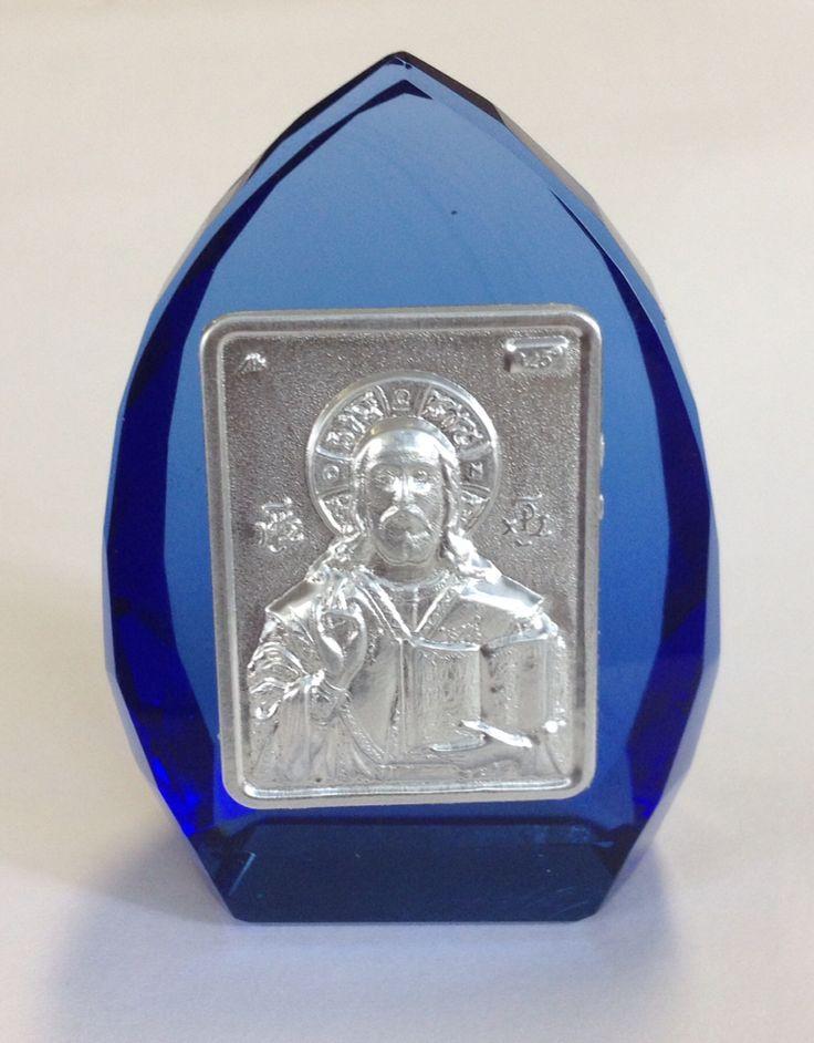 Small Metal Orthodox Icon on Glass