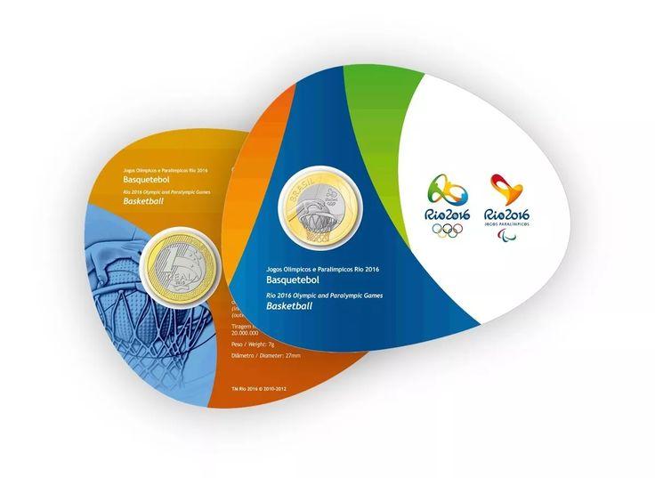 moeda olimpíadas rio 2016 blister cartela oficial basquete