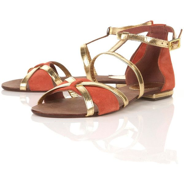 Frey Orange T-Bar Sandals (52 AUD) ❤ liked on Polyvore featuring shoes