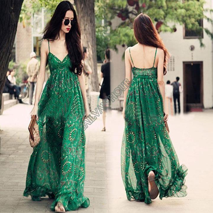 Fast shipping 2014 Fashion bohemia Beach bottom full dress spaghetti strap bra chiffon long maxi dresses Green #4 SV004568 US $15.47 - 15.56 Ali express