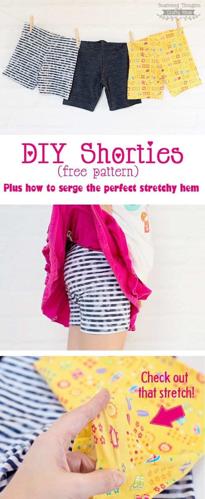 Free Shortie pattern plus how to Serge the perfect stretchy hem. (w/ the blind hem foot.)