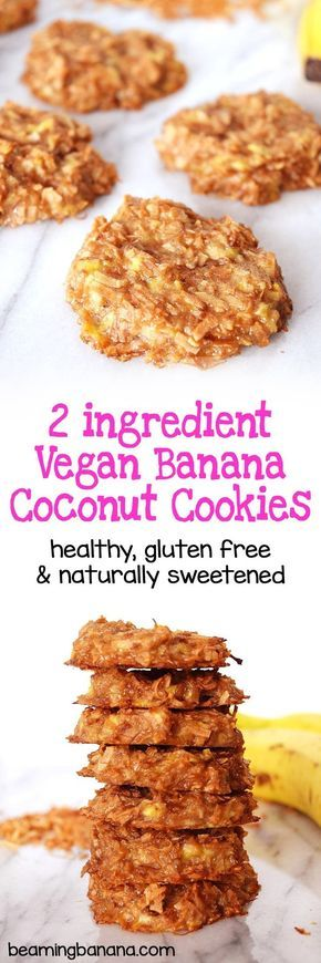 Vegan banana coconut cookies are soft, super chewy, and made with just 2 ingredients!