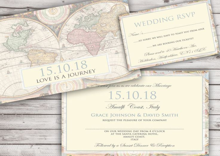 11 best vintage travel wedding invitations images on pinterest personalised vintage map wedding invitations packs of 10 filmwisefo