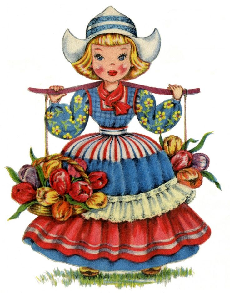 Cute Retro Dutch Doll Image! | This pretty Girl is wearing a brightly colored costume trimmed with some eyelet lace. She's carrying two Baskets filled with pretty Tulips! This is the ninth one in a series that I've been sharing here for the last few weeks, of lovely Dolls from all over the World. There are so many pretty ones, you will want to collect them all!