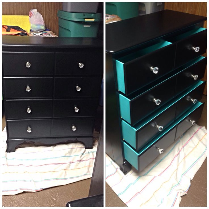 Nice Repainted An Old, Ugly Dresser! Black, Turquoise, And Crystal Knobs #DIY