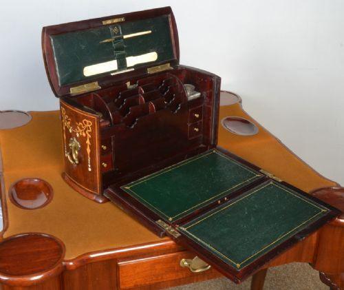 поздний викторианский инкрустированный письменный коробка - угол фото #4