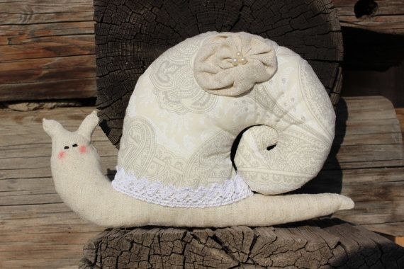 Snail Toy, Homedecor Tilda Toy, Stuffed Snail, Shabby chic toy