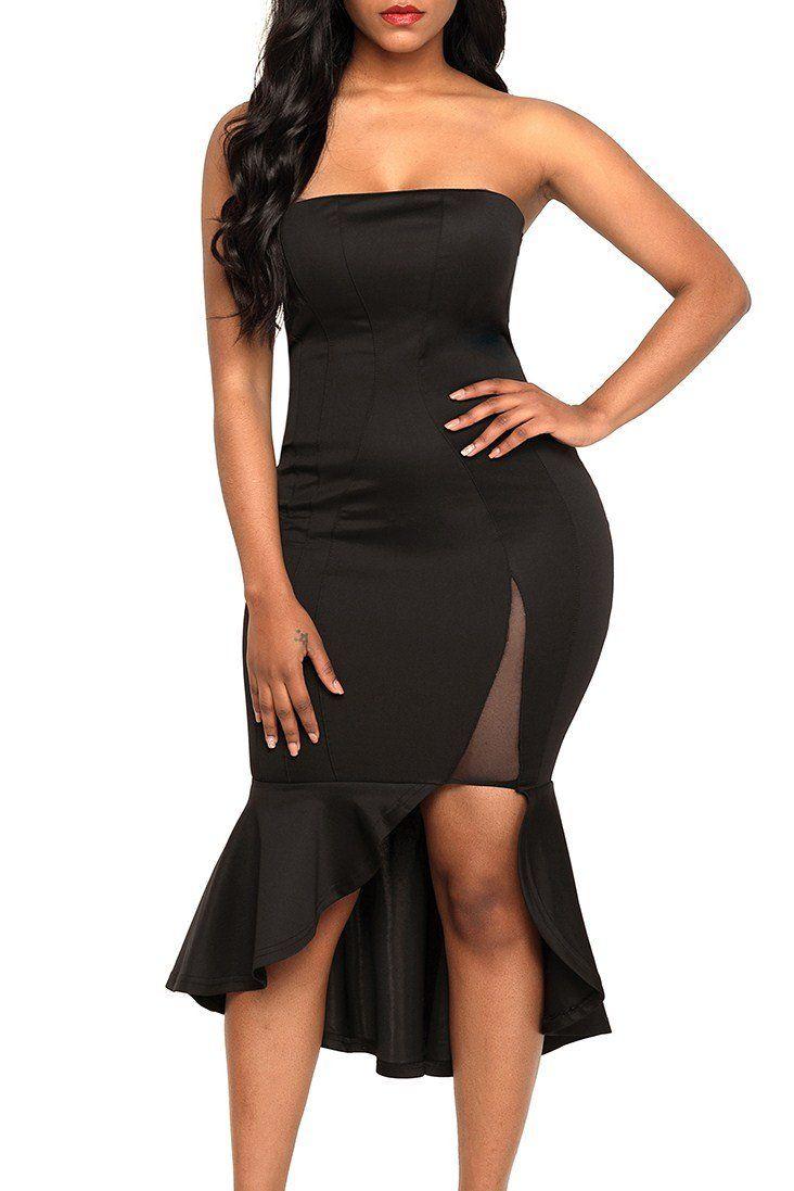 Black Asymmetric Ruffle Hem Strapless Party Dress Strapless Party Dress Party Dress Dresses To Wear To A Wedding [ 1097 x 732 Pixel ]
