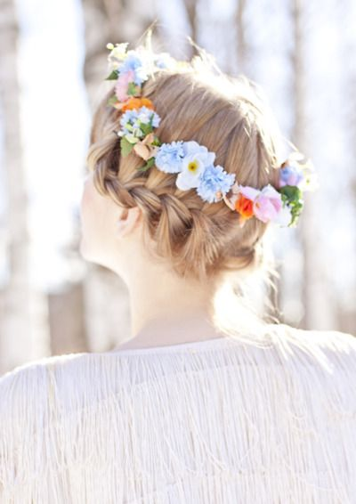 Small and colorful flower crown with braid