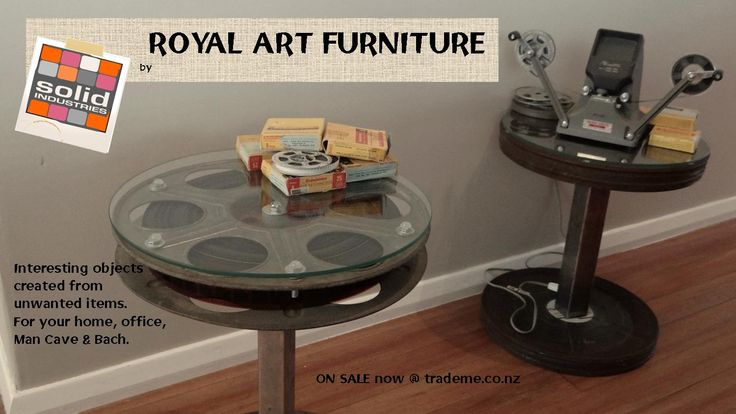 Industrial style side tables using upcycled Film reels and cases. Solid Industries, Royal Art Furniture, upcycle