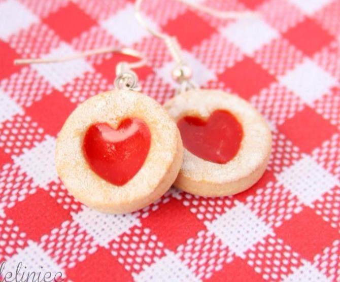 Kolczyki kruche ciastka z galaretką w Modeliniec na DaWanda.com
