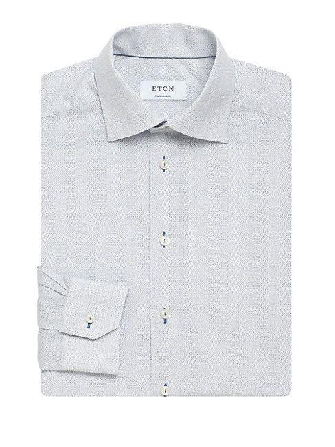 contemporáneo geométrico Camisa corte de Eton algodón de con de estampado vestir de rzwYOxCqyz
