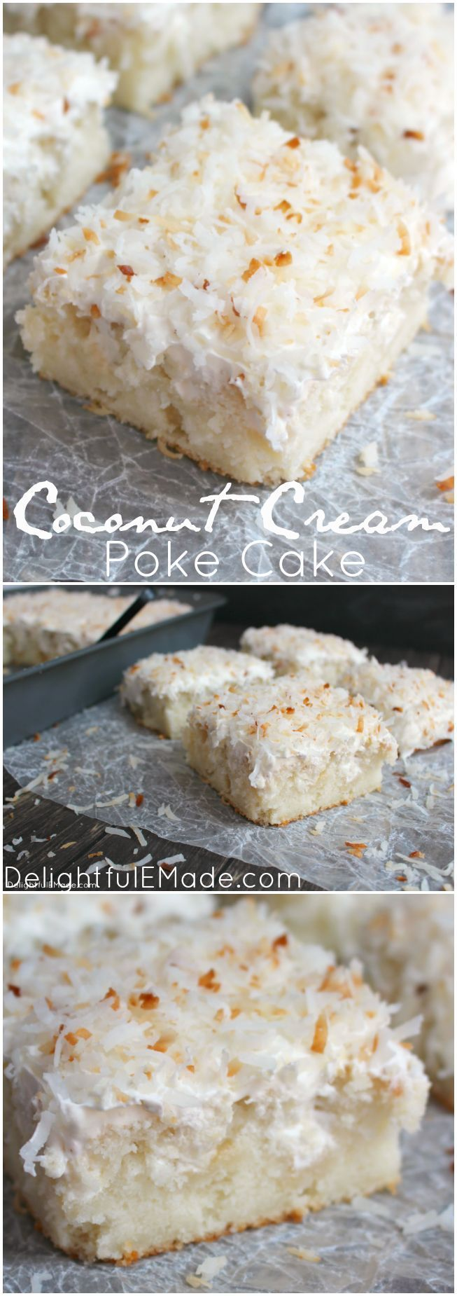 A dreamy, delicious coconut cake that will have you coming back for seconds!  Creme of coconut is baked into a fluffy white cake making it super moist.  The cake is then topped with coconut whipped cream and toasted coconut for the ultimate coconut treat!