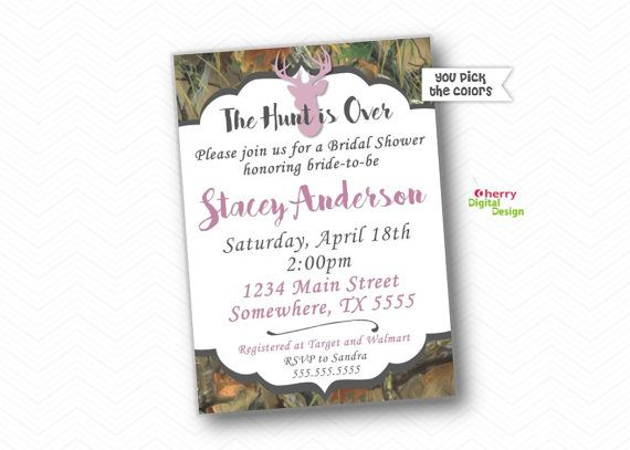 The Hunt is over Purple and Camo PRINTABLE or PRINTED Bridal Shower Invitation.  Deer Head, Antler Hunting Rustic Casual Invitation.