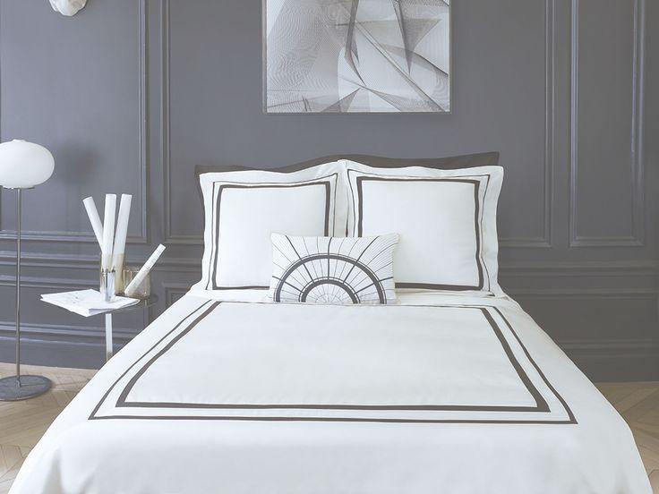 Parure de lit faubourg satin de coton alb tre descamps french avec dble trai - Parure de lit descamps ...