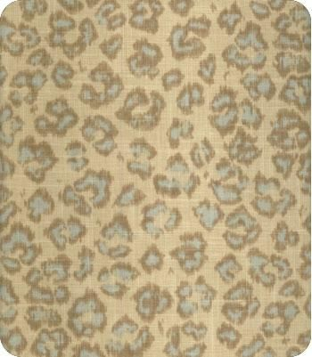 Soft linen fabric featuring khaki leopard print with vintage aqua accents - this fabric was made for me! Swoon!