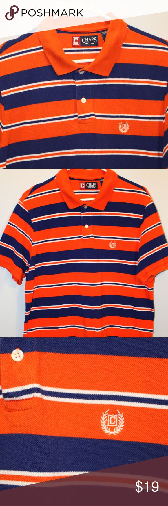 Men's Chaps Polo Shirt Sz Large Navy Orange Nice! This is a very nice Men's Chaps Shirt.  Polo style.  Navy Blue with Orange.  Chest logo.  Size Large.  Awesome shirt.  Might make a great shirt for a Denver Broncos fan (does not have any NFL logos on it).  NOTE: All button down shirts, polo shirts, and T Shirts go into a two bag sealed POLYMAILER (ACCEPTABLE PER POSHMARK POLICY). Generally 2XL and under. Chaps Shirts Polos