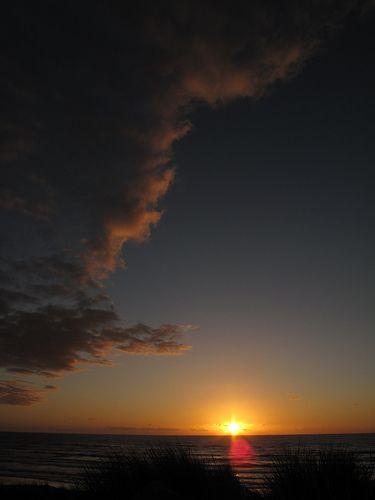 New Zealand, Foxton, Sunset on Foxton beach