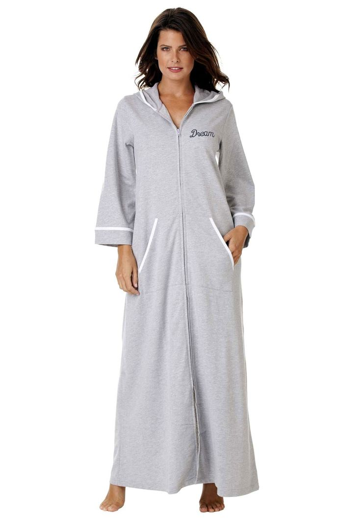 Plus Size Hooded French Terry Long Robe
