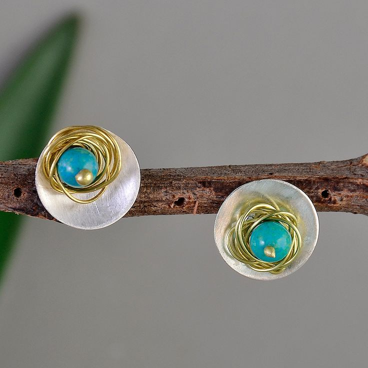 Turquoise  silver studs, small circle earrings, December birthstone studs, geometric jewelry, mixed metals studs, Christmas gift under 20 by ColorLatinoJewelry on Etsy