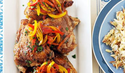 Bobby Flay's Chicken and Peppers in an easy Balsamic Sauce