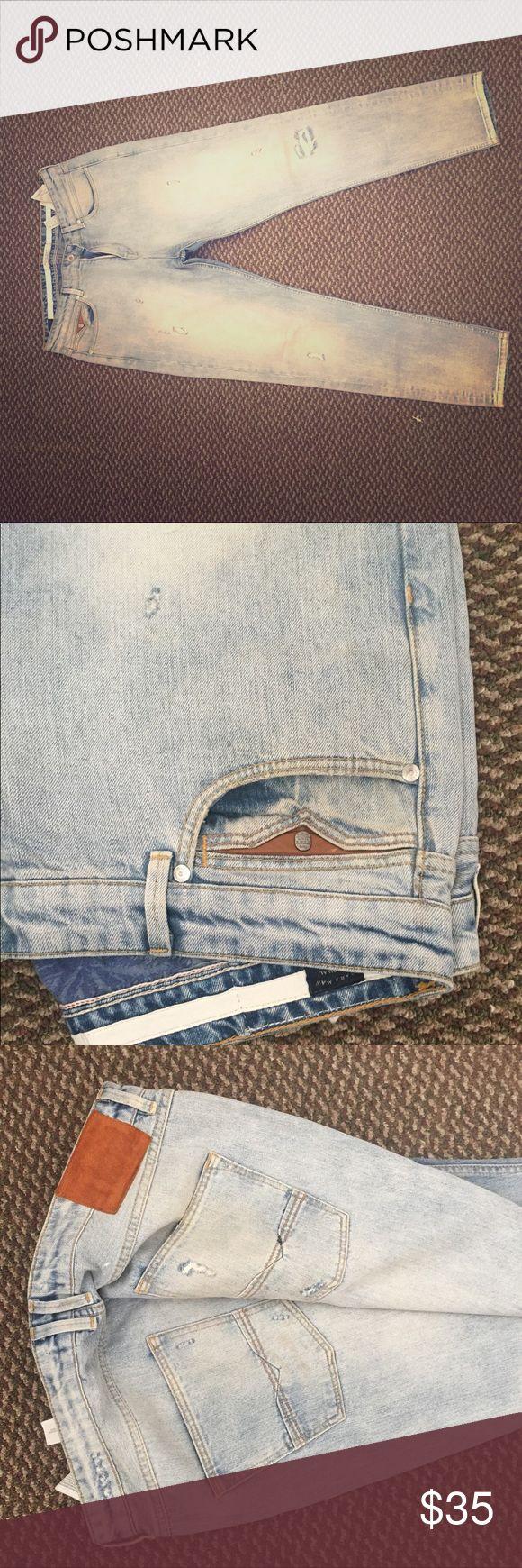 Zara Men's Jeans SZ. 36x32 Used Ice Blue Jean with Tan fade Zara Jeans Slim