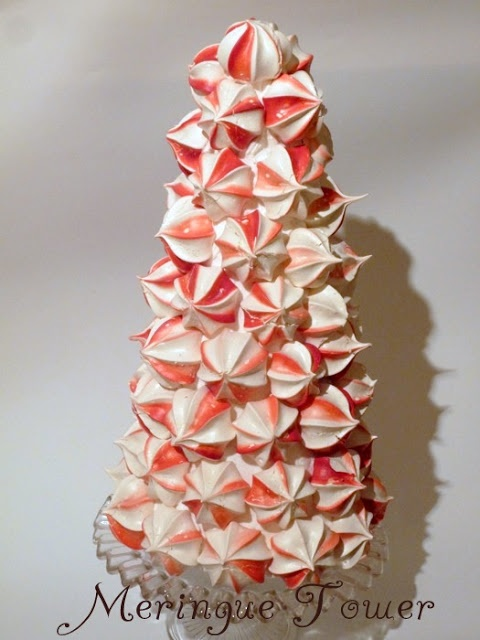 DIY:: Make a meringue tower -Can use Colors that match your Holiday Decor ! So Lovely !
