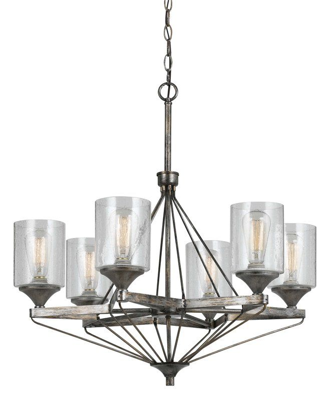 View the Cal Lighting FX-3538/6 6 Light Cresco Metal Chandelier With Bubbled Glass Shade at LightingDirect.com.