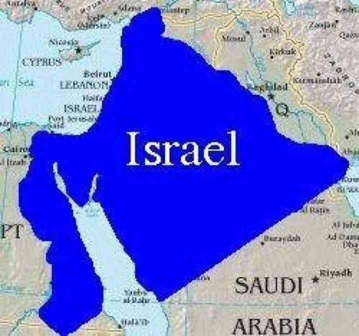 The borders of the land God promised to Abraham (Israel