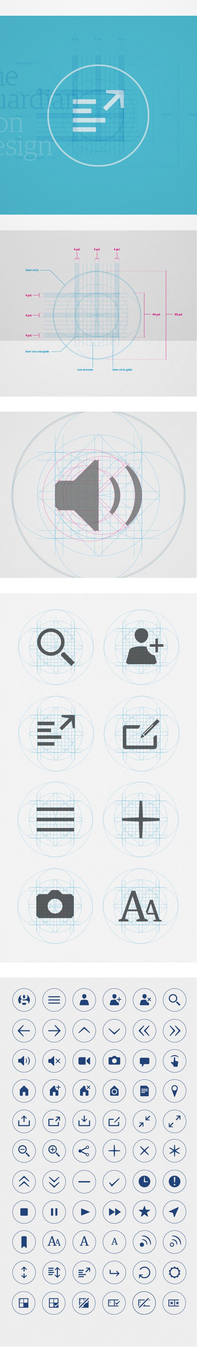 The Guardian Iconography - Icon Design  As part of a complete redesign of The Guardian's digital channels, Territory were approached to help define and craft a consolidated system of icons for use in the new app and online services.  Working in collaboration with Alex Breuer, Creative Director of The Guardian, Territory's icon guidelines are now being rolled out across the website and mobile apps.