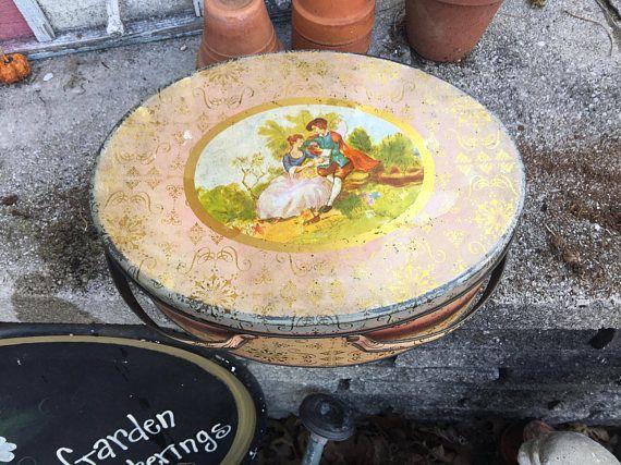 Vintage Pink Tin  Oval Basket Tin  Sewing Craft  Storage