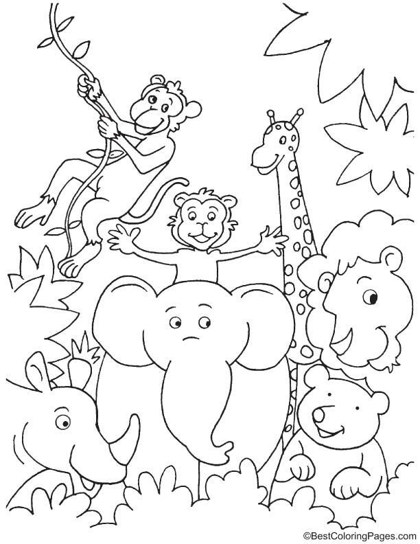 Fun in jungle coloring page | Jungle coloring pages, Zoo ...