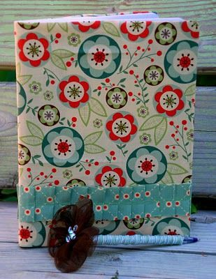 I love this idea to cover composition notebooks.  This would be a cute teacher appreciation gift or a fun journal.