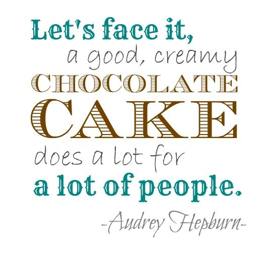 Audrey Hepburn Chocolate Cake Quote <3 Cake Decorating Magazine http://mycakedecorating.com/