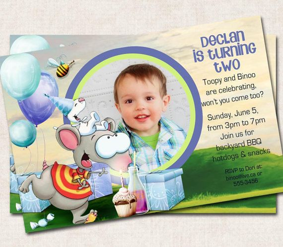 Seems like the other one has disappeared so we may go with this invite instead.... Toopy and Binoo Birthday Invitation blue by missbellaexpressions, $15.00