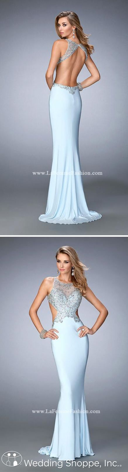 A sexy backless fitted prom dress with sparkly bodice.