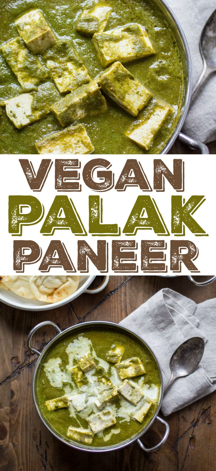 Swapping tofu for cheese is an easy way to turn Palak Paneer into a plant-based favorite.