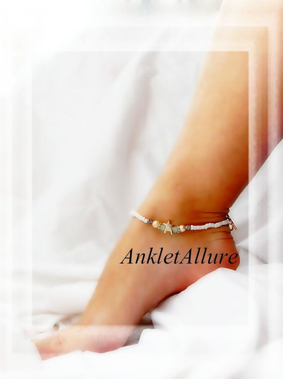 Chic Beach Feet Freahwater Pearl Anklet Seawater Green Starfish Ankle Bracelet Gold Ankle Bracelet