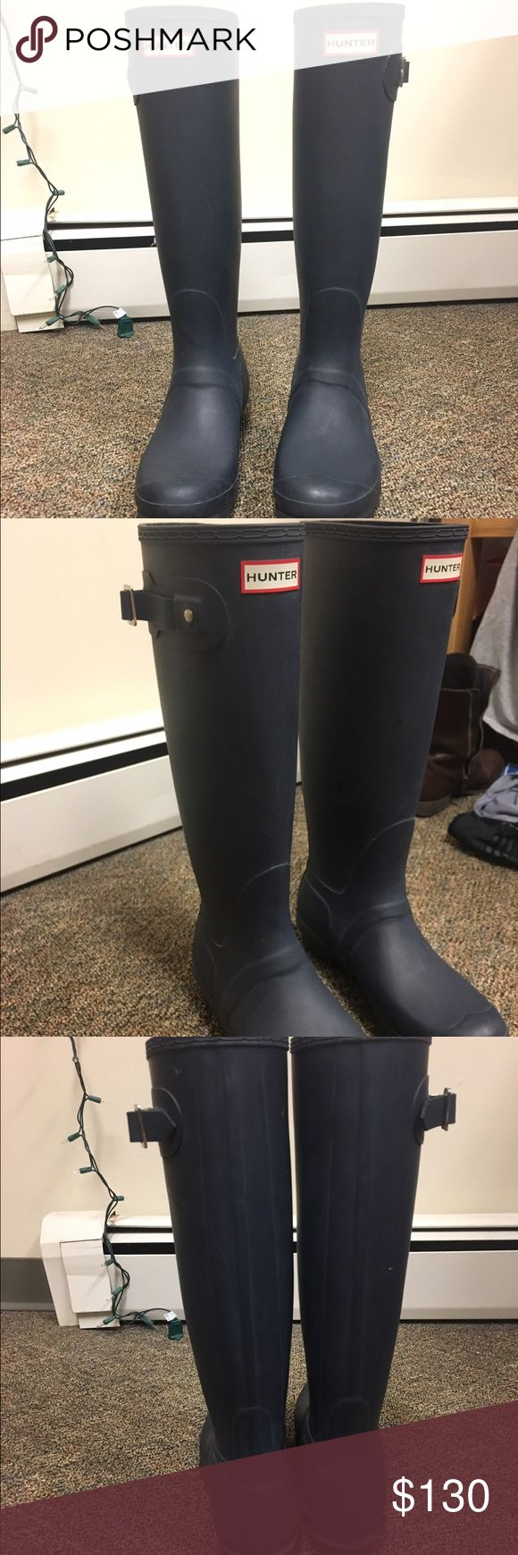 Navy blue tall hunter boots These boots are almost new, only worn a few times! Perfect for the rainy spring Hunter Boots Shoes Winter & Rain Boots