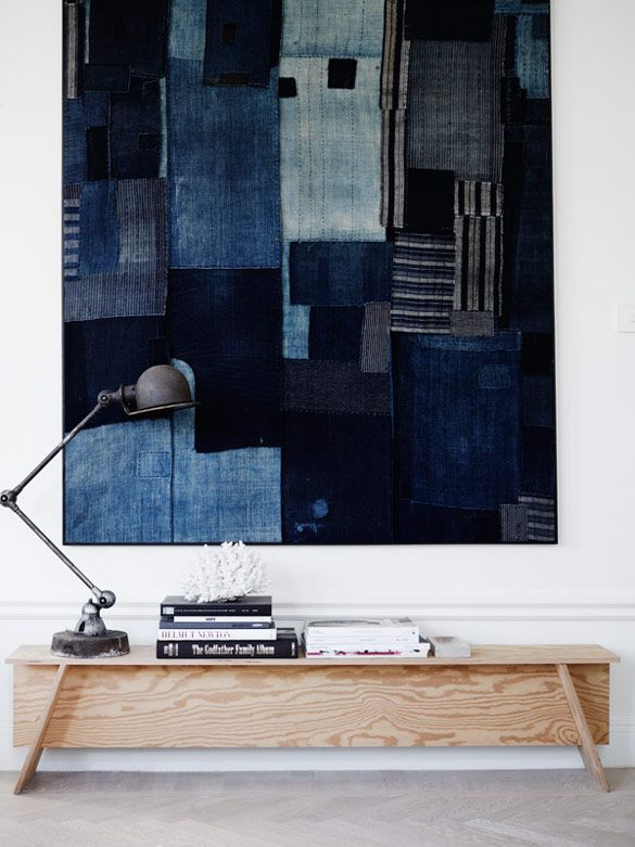The Home of Lotta Agaton | NordicDesign-a beautiful collage made with denim and chambray pieces.